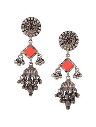 Red Glass Vintage Silver Jhumkis