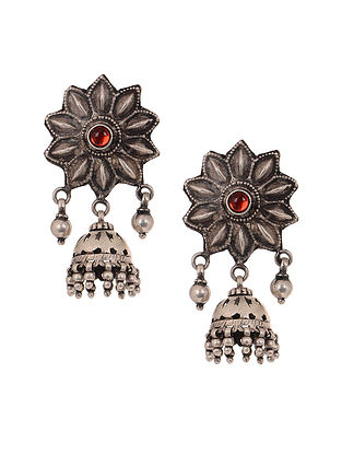 Red Vintage Silver Jhumkis with Floral Design