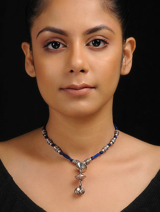 Blue Thread Tribal Silver Necklace