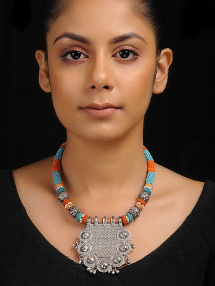 Blue-Brown Thread Tribal Silver Necklace