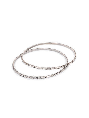 Tribal Silver Bangles (Bangle Size -2/6) (Set of 2)