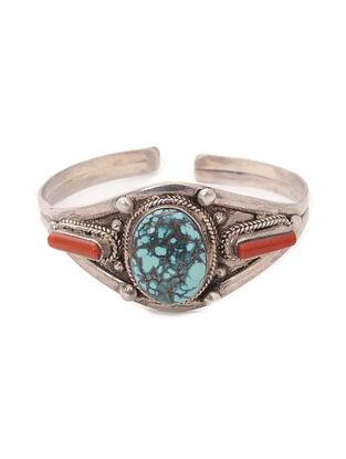 Turquoise and Coral Silver Cuff