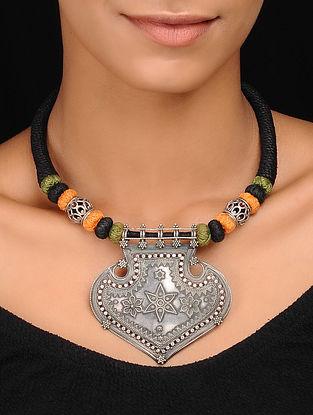 Black-Orange Thread Vintage Silver Necklace