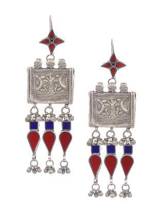 Red-Blue Glass Vintage Silver Earrings