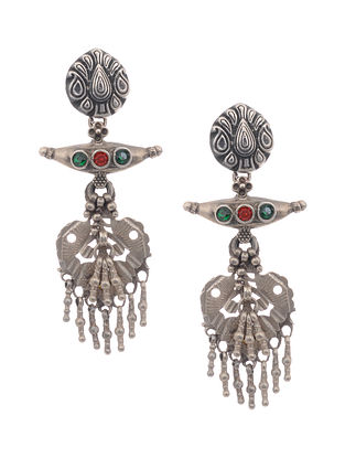 Red-Green Vintage Silver Earrings
