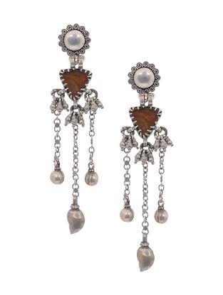 Brown Vintage Silver Earrings