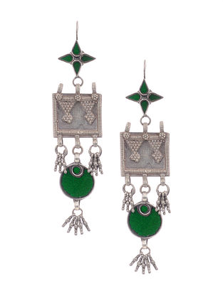 Green Glass Vintage Silver Earrings
