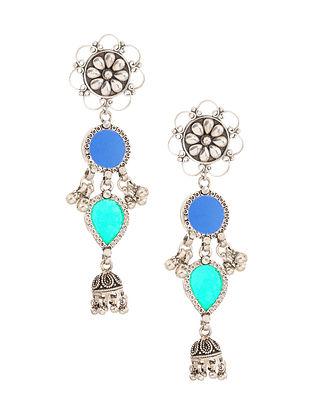 Blue Green Glass Tribal Silver Jhumki Earrings