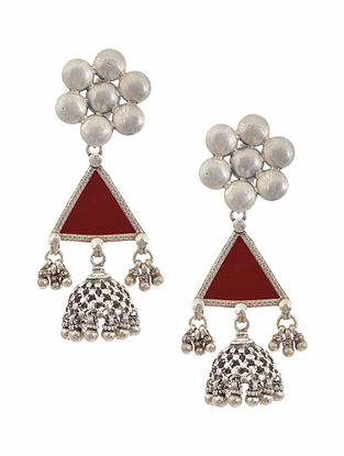 Red Glass Tribal Silver Jhumki Earrings