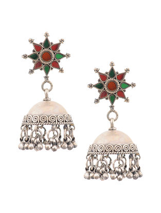 Red Green Tribal Silver Jhumki Earrings
