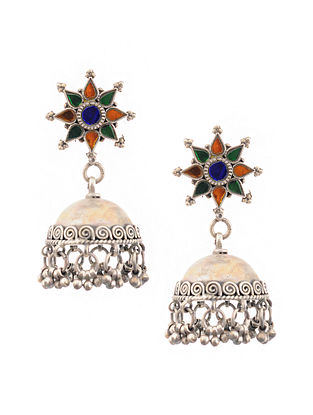 Orange Green Tribal Silver Jhumki Earrings