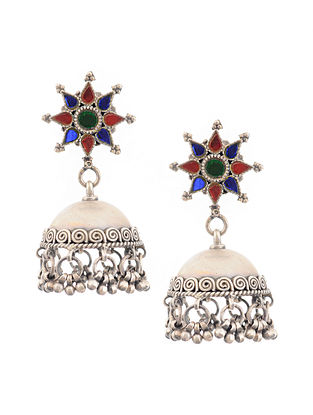 Red Blue Glass Tribal Silver Jhumki Earrings