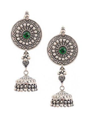 Green Glass Tribal Silver Jhumki Earrings