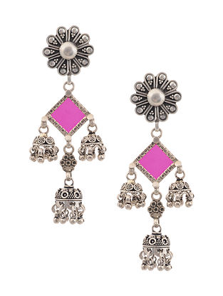 Pink Glass Tribal Silver Jhumki Earrings