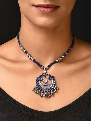 Blue Glass Tribal Silver Necklace