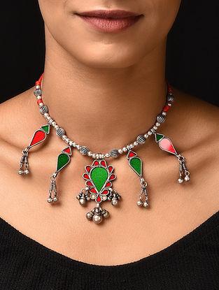 Orange Green Glass Tribal Silver Necklace