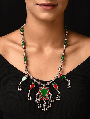 Red Green Glass Tribal Silver Necklace