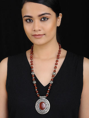 Tribal Silver Necklace with Red Onyx