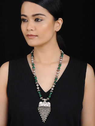 Tribal Silver Necklace with Green Onyx