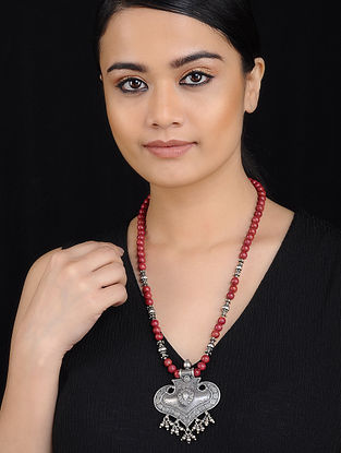 Tribal Silver Necklace with Coral