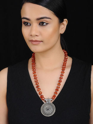 Tribal Silver Necklace with Carnelian