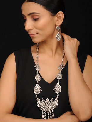 Tribal Silver Necklace with Earrings (Set of 2)