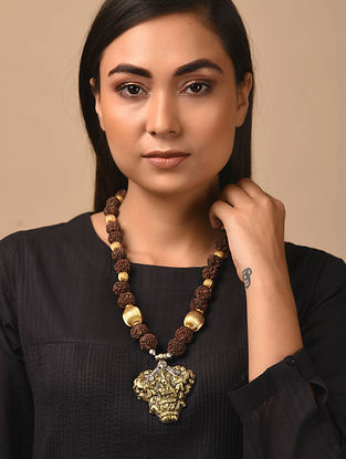 Rudaraksh Beaded Gold Plated Silver Necklace