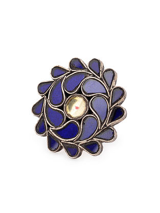 Blue Yellow Glass Tribal Silver Adjustable Ring