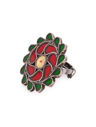 Multicolored Glass Tribal Silver Adjustable Ring