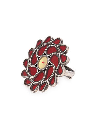 Red Yellow Glass Tribal Silver Adjustable Ring
