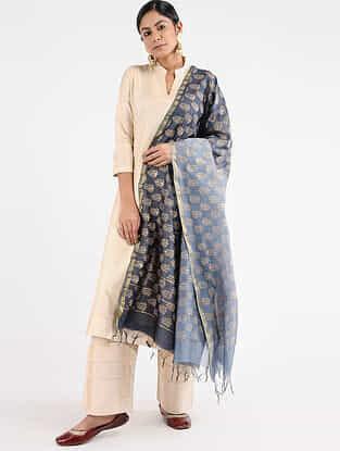 Grey Block-printed Chanderi Dupatta with Zari Border