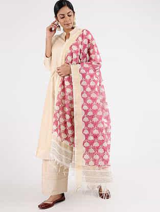 Pink-Ivory Block-printed Chanderi Dupatta with Zari Border