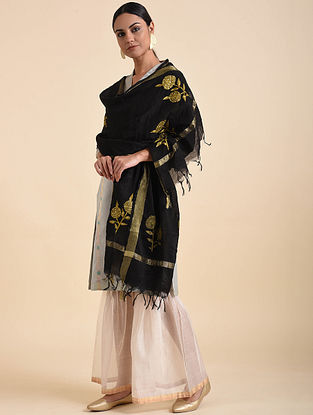 Black Hand Embroidered Khadi Silk Dupatta with Zari Border