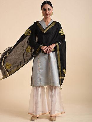 Black Hand Embroidered Khadi Silk Dupatta with Zari Border