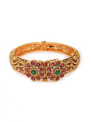 Pink Green Gold Tone Bangle (Bangle Size:2/6)