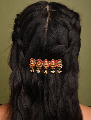 Pink Gold Tone Temple Work Hair Clip With Pearls
