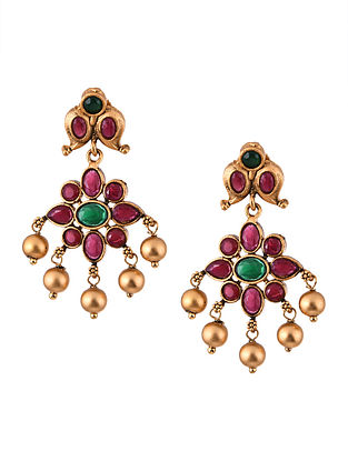 Pink Green Gold Tone Temple Work Earrings