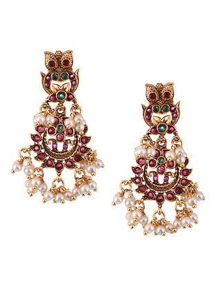 Pink Green Gold Tone Temple Work Earrings With Pearls