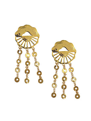 Classic Gold Tone Handcrafted Tassel Brass Earrings