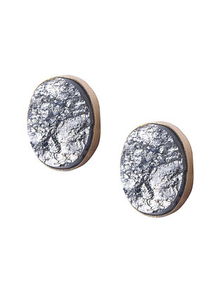 Gold Tone Handcrafted Stud Earrings with Pyrite