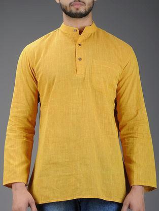 Mustard Mandarin Collar Full Sleeve Cotton Kurta