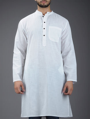 Ivory Mandarin Collar Full Sleeve Cotton Kurta