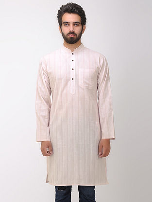 Pink-White Full Sleeve Cotton Kurta with Front Pocket