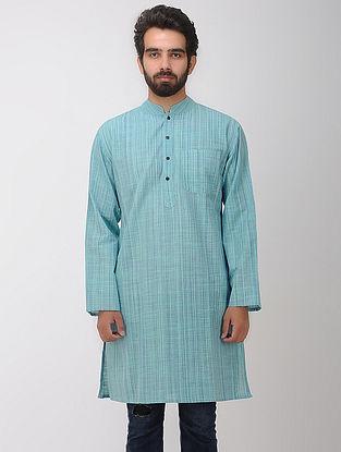 Green-Blue Full Sleeve Cotton Kurta with Front Pocket