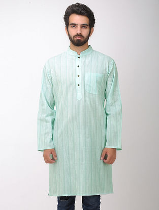 Teal-White Full Sleeve Cotton Kurta with Front Pocket