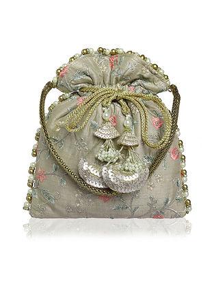 Grey Embellished Silk Potli