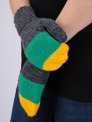 Multi-Colored Hand Knitted Woolen Mittens