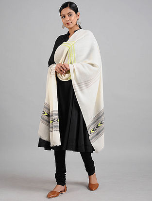 White-Black Wool Stole