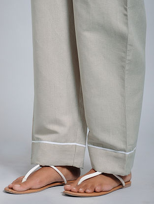 Grey-Beige Cotton-Linen Pants