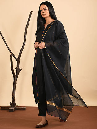 Black Silk Cotton Dupatta with Zari